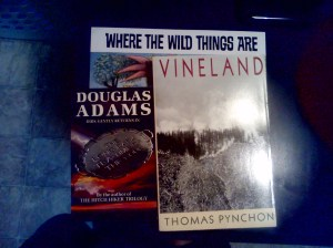 Books I took home: Where the Wild Things Are, The Long Dark Tea Time of the Soul, and Vineland