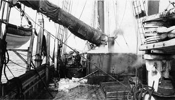 Actual try-works, circa 1925. Via girlonawhaleship.org