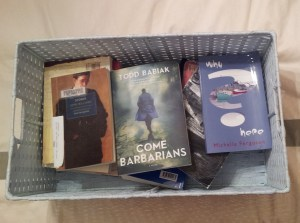 My poor books are sitting in a laundry basket. Someone come put my new IKEA bookshelves together, please!