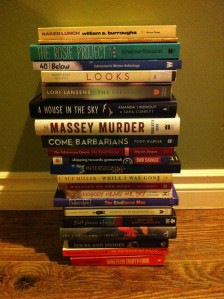 Matthew's stack. Pretty jealous that he's going to be reading The Girls soon.